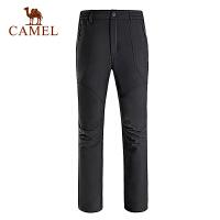 camel骆驼户外软壳裤 情侣款防风保暖抗静电男女软壳长裤