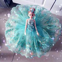蓝色手工芭比娃娃婚纱小女孩生日礼物可儿公主摆件儿童玩具品W015
