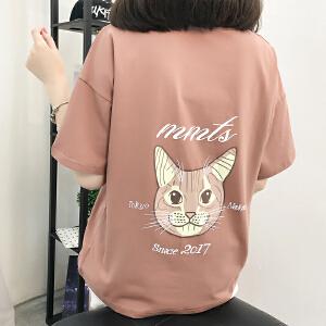 新款夏季短袖T恤女宽松大码图案印花学生体恤上衣潮NR603-1315