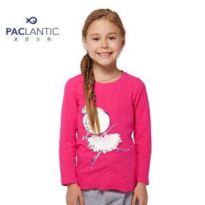 派克兰帝 儿童长袖T恤女孩外衣 女童芭蕾娃娃长袖T恤