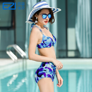 2017弈姿EZI温泉新款系带钢托比基尼女游泳衣小胸性感比基尼2124