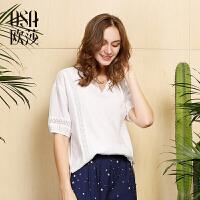 欧莎夏装女2017夏装新款女装白色简约V领衬衫B1