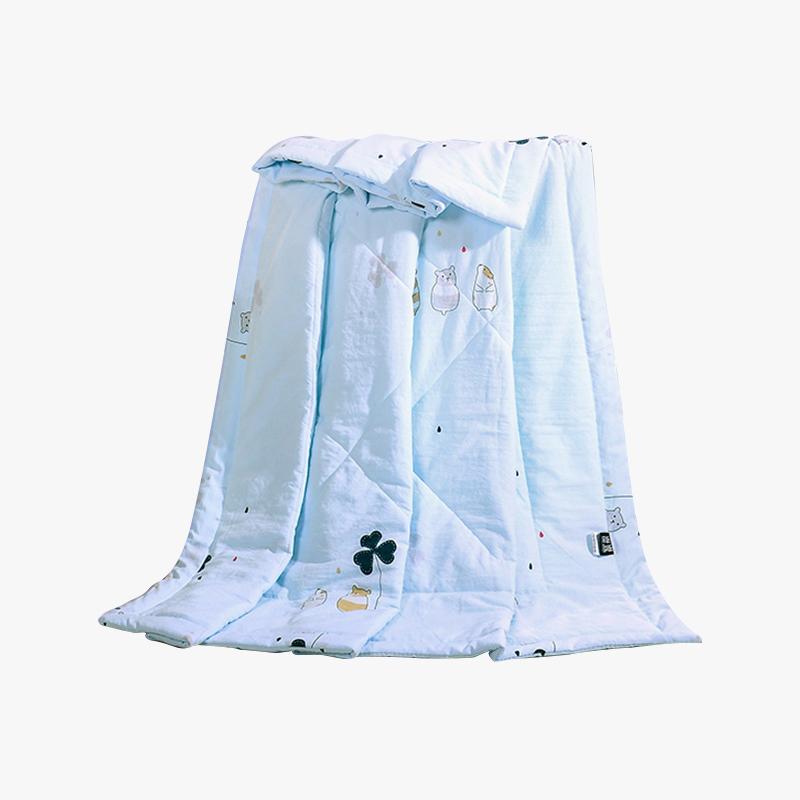 当当优品家纺 水洗棉裸睡夏凉被 110x150单人空调被 甜蜜(蓝)当当自营 柔软舒适水洗棉 水洗机洗不变形