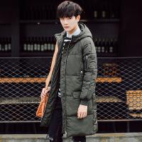 男装冬季韩版修身棉袄潮男加厚棉服时尚休闲连帽中长款棉衣