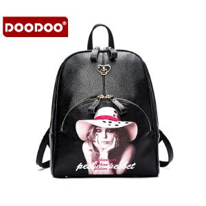 DOODOO 2017新款时尚双肩包日韩插画背包潮流风范学院风百搭女款书包旅行包 D6022 【支持礼品卡】