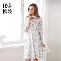 欧莎2017春女春装新品清新印花 甜美系带 长袖 连衣裙A13006
