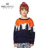 派克兰帝儿童毛衣 男童时尚提花套头线衣