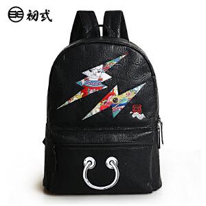 初�q中国风复古潮压纹印花卡通男女学生防水旅行电脑双肩包41074