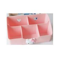 低价包邮  陆捌壹肆 创意卡通kt凯蒂猫hellokitty客厅办公桌面塑料收纳盒化妆品整理盒(一个装)