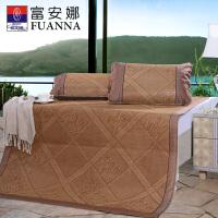 富安娜1.8m床可折叠凉席1.5三件套夏季席子双人夏凉席 格之韵