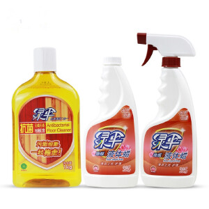绿伞地板洁护套装 地板清洁剂1kg+地板液体蜡500gx2瓶 (玫瑰香型)