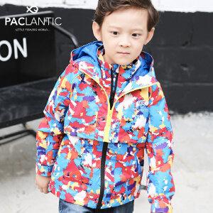派克兰帝2017秋款中大童冲锋衣 女童假两件薄款外套儿童上衣