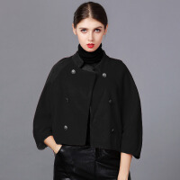 �莱2017春装新款气质大码斗篷蝙蝠袖披肩短款毛呢大衣呢子小外套女