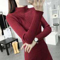 薇小歪 秋冬新款毛衣女装韩版修身中长款半高领纯色套头针织打底衫厚JDD888