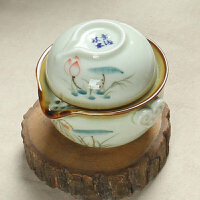 尚帝 陶瓷快客杯 旅行茶杯 整套功夫茶具快客杯一壶一杯XM201DYPG1