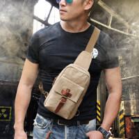 复古帆布胸包休闲男士包包单肩背包斜挎小包潮腰包跨包