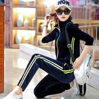 金丝天鹅绒女装休闲两件套韩版大码时尚运动套装