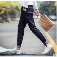 时尚休闲青年弹力时尚男士牛仔裤韩版修身加绒长裤子小脚裤秋冬季黑色