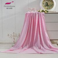 [当当自营]维众提花毛巾被 毯子单人 菱形粉145*200cm