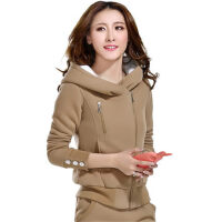 加绒卫衣 加厚保暖休闲女装两件套冬装外套运动套装