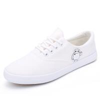 白色女士帆布鞋2016夏季新款女平底小白鞋系带学生大白款休闲韩版