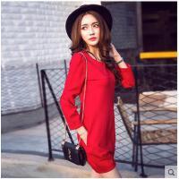 欧洲站时尚百搭新款女装韩版宽松显瘦九分袖大红色连衣裙打底灯笼裙
