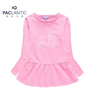 派克兰帝品牌童装  秋装秋装女童运动时尚针织T恤式连衣裙