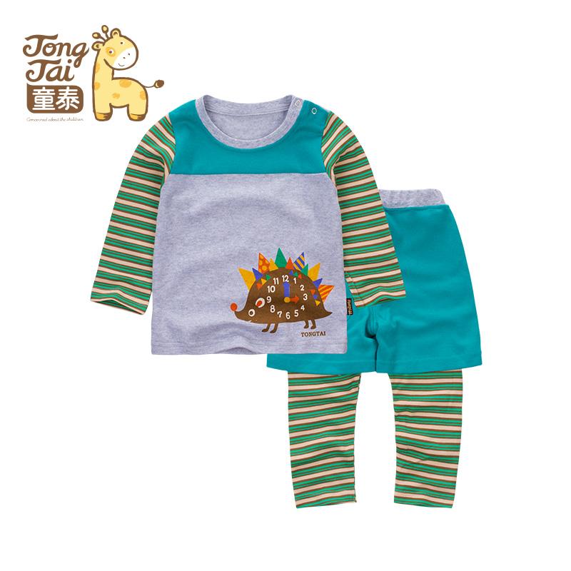 童泰新款秋装婴儿衣服儿童套装韩版外出服男女宝宝外出假三件套_绿色