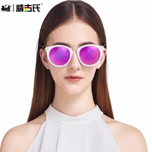 威古氏墨镜女潮2017新款偏光太阳镜女金属配饰明星款圆框眼镜6113