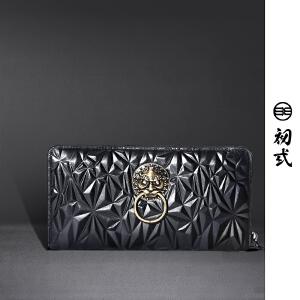 初�q中国风潮牌复古男女头层牛皮狮子头长款拉链多卡位钱包44006