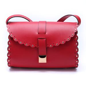 FURLA芙拉红色牛皮材质铆钉花边纹设计女士单肩斜挎包
