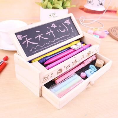 多功能韩国创意学生木质文具盒 黑板双层铅笔盒 男女学生儿童礼物