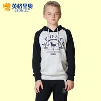 英格里奥童装男童春秋装套装卫衣运动套头衫运动裤两件套876S