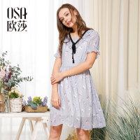 欧莎夏装女2017夏装新款女装清新碎花蝴蝶结系带连衣裙B13001