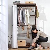 家逸 简易衣柜实木衣帽架 落地挂衣架 现代门厅挂衣架 卧室置物收纳储物架