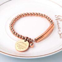 简约珠珠链小圆牌钛钢镀18k玫瑰金 时尚情侣手链女款