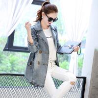 韩秀月儿 新款牛仔风衣外套中长款修身时尚休闲牛仔上衣女XYL835