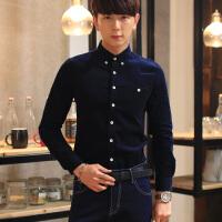 男士加绒长袖衬衫韩版时尚潮男灯芯绒衬衫男装男士长袖加绒大码衬衣男