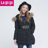 Lagogo/拉谷谷冬季新款连帽貉毛纯色羽绒服4DF666B401