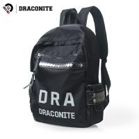 【支持礼品卡支付】DRACONITE韩版黑色书包学院风碎石纹字母反光双肩背包男女潮11693