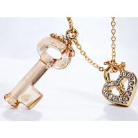 水晶 项链 女 短款 钥匙 施华洛 .世奇元素 吊坠锁骨链 生日礼物