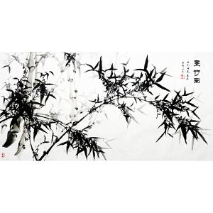 世界华人华侨艺术家协会江苏分会理事,南通市美术家协会会员 昱若《墨竹》