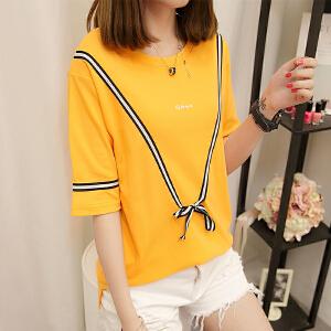 新款短袖t恤女韩版宽松打底体恤衫小衫中长袖上衣女BH500-1886