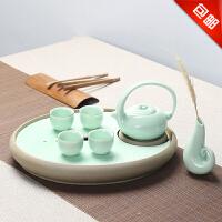 林仕屋青瓷干泡茶盘 整套功夫茶具套装陶瓷茶盘茶托茶杯茶壶CJT1719