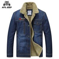 AFS JEEP冬季外套男长袖短款 休闲大码上衣翻领 加厚加绒牛仔棉衣