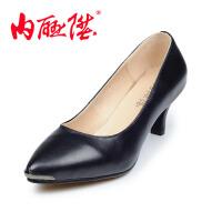 内联升女鞋单鞋女士羊皮中跟鞋时尚休闲老北京布鞋4658C
