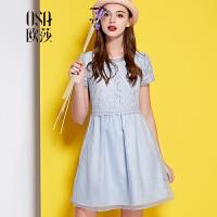 OSA欧莎2015夏季新款女装收腰蕾丝拼接欧根纱女连衣裙SL523019