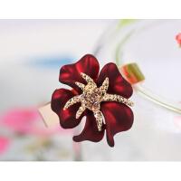 戒指 女 花朵 镶钻 立体玫瑰 指环  时尚 潮 女 小饰品 简约 个性 食指戒 韩版  礼品