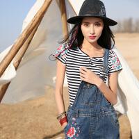 裂帛2017春装新款刺绣圆领贴口袋短袖修身条纹T恤女51160025