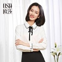 欧莎2017春女春季新款女装时尚OL职业白色撞色系带衬衫女A12051